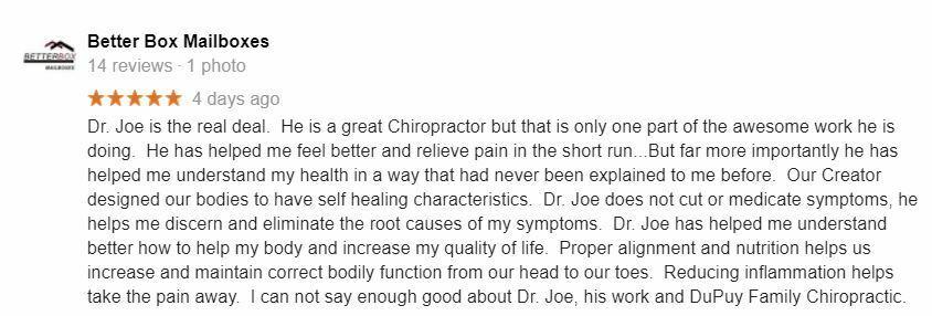 Chiropractic Simpsonville SC Patient Testimonials